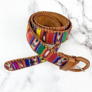 Guatemalan Colorful Tapestry Leather Belt 32